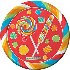 Our #SugarBuzz Dinner Plates features red, blue, green, orange and yellow stripes with coordinating candies.