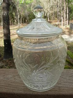 Tiara Clear Sandwich Glass Cookie Jar Mint Condition H30221 | eBay