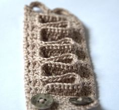 Cappuccino beige bracelet  crochet cotton wrist handmade by astash, $24.00