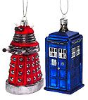 dalek and tardis ornaments!