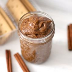 Secretly Healthy Cinnamon Roll Almond Butter -- all the flavor of cinnamon rolls in a decadent, almond buttery spread!