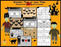 Greater Than/Less Than Interactive Smartboard Lesson (Halloween Theme) Gr. 1-2 from Teaching The Smart Way on TeachersNotebook.com -  (10 pages)  - Greater Than/Less Than Interactive Smartboard Lesson (Halloween Theme) Gr. 1-2