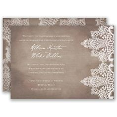 A chic, rustic design of antique lace printed on a subtle wood grain background on both sides of this romantic wedding invitation is perfect for your vintage wedding. Invitations by David's Bridal Style Vintage Lace.