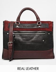 Leather and Suede Zip Front Handheld Bag
