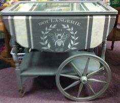 Tea cart painted and stenciled with chalk paint