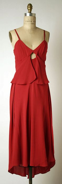 Red silk evening dress by Madame Grès (Alix Barton), French, 1970-79.