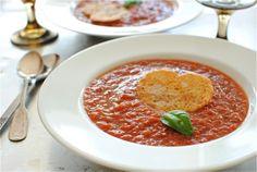 Roasted Tomato Soup with Parmesan Heart Crisps by bevcooks #Soup #Tomato #bevcooks