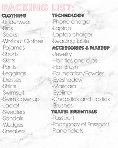 Packing Check List