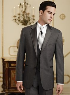 Custom Made 100% Wool Gray Wedding Tuxedo for men /Prom Suit with one button 4 peices set  (jacket+vest+pants)free shipping on on Suzhou Itailor wedding Ltd. $159.00