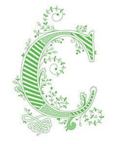 Impresión Dibujado a mano con monograma, 8x10, la letra C, en el color verde
