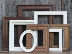 Rustic Shabby Chic Decor / Antique White Natural Wood Picture Frame Set / Gallery Wall / Distressed Picture Frame Set / Sellwood Collection