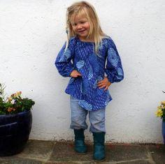 Funky Blue Vintage Peasant Tunic Age 4