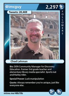 DEN Community Manager for Discovery Education.  Former 3rd grade teacher and elementary library media specialist.  Sports nut and Harley rider.