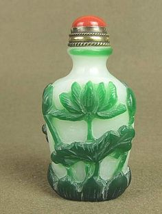 Chinese Carved Peking Glass Snuff Bottle, Lotus Blossom.