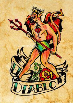 Old School Tattoo Devil Art El DIABLO Loteria Print 5 x 7 or 8 x 10
