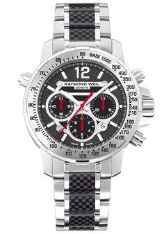 Nabucco, Steel and carbon fiber, Black dial #luxurywatch #raymondweil Raymond-Weil. Swiss Luxury Watchmakers watches #horlogerie @calibrelondon