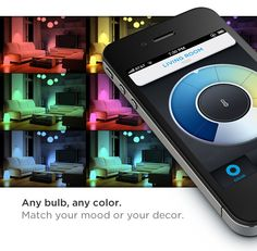 And that smartphone controlled light bulb changes color and can sync to your music. Very cool.