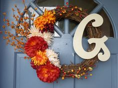 Fall Door Wreath.