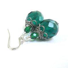 Christmas Earrings Green and Silver Earrings by pink80sgirl, $24.00