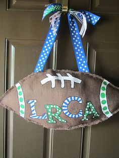doors, burlap door hangers, idea, door hangings, footbal door, crafti thing, football season, diy burlap, burlap footbal