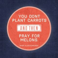 Mary Ellen Edmunds has great advice about how to think about prayer and what we sew vs. what we reap.
