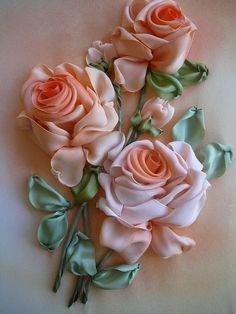 fabric roses, pink roses, ribbonwork, art, silk ribbon embroidery, peach, ribbon embroideri, ribbon work, ribbon flower