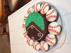 """@Bethany Tubach  - baseball cupcakes and instead of the field for the cake, pipe the """"W"""" logo"""