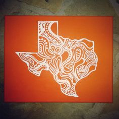 State of Texas Burnt Orange and White Paisley Canvas by bkrafty designs