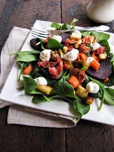 Roast Vegetable Salad with Goat Cheese Mousse by katieatthekitchendoor #Salad #Roast_Vegetable #Goat_Cheese