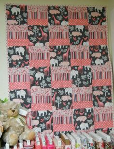 Michael Miller Pink Baby Squares Quilt Kit