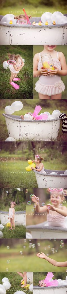 Chubby Cheek Photography Houston, TX Natural Light Photographer. Photo Session Ideas   Props   Prop   Pose Idea   Child   Fun Outdoor Bubble Bath   Swimming   Summer