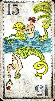 A card with a mermaid & a merman.