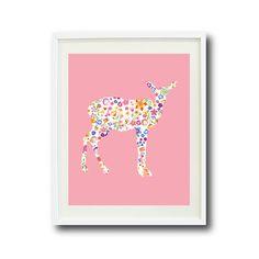Floral Deer Art Print-8x10-Kids Room-Baby Girl Nursery-Home Decor-Playroom-Pink, Blue, Yellow, Red, Orange, Purple