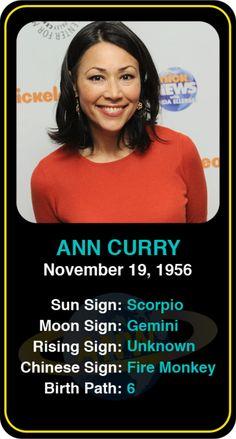 Celeb #Scorpio birthdays: Ann Curry's astrology info! Sign up here to see more: https://www.astroconnects.com/galleries/celeb-birthday-gallery/scorpio?start=150  #astrology #horoscope #zodiac #birthchart #natalchart #anncurry