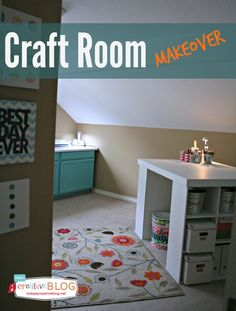 Craft Room Makeover | TodaysCreativeBlog.net ..love these colors, turquoise and salmon