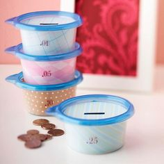 """This inspired another idea- use small plastic food containers with cut slots in the lid. Label them """"save"""", """"spend"""", and """"share"""" (meaning charity). Then assign a certain percentage of their allowance to each jar. If you decorate them, like shown, they are pretty enough to keep on a dresser or shelf, and are stackable too. Lids pop off, making accessing the money easy too"""