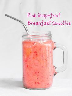 Pink grapefruit breakfast smoothie (1 banana, 1 grapefruit, 1 cup frozen strawberries, 1/2 cup orange juice)