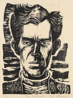 """Gary Catalano"" woodcut, 1992,  by Rick Amor. http://www.rickamor.com.au/ Tags: Linocut, Cut, Print, Linoleum, Lino, Carving, Block, Woodcut, Helen Elstone."