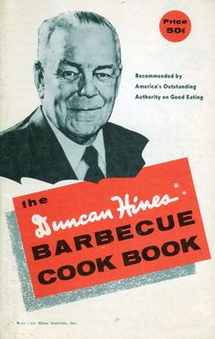 This vintage cookbook advertises the Duncan Hines outdoor grills, of which there were 12 models, manufactured Hemp and Company (later acquired by Thermos). There are tips for building the perfect fire, grill care and cleaning and recipes for meats, fish, seafood, marinades and sauces.