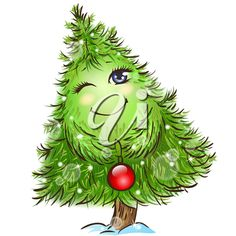 iCLIPART - Clip Art Illustration of a Smiling Christmas Tree