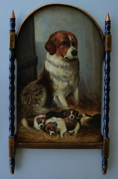 Antique Papier Mache Mother Dog & Pups Screen