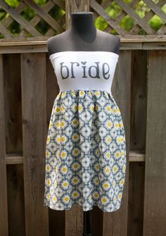 Grey Patterned BRIDE To Be Dress  MADE to ORDER by thearmorofGod, $49.00
