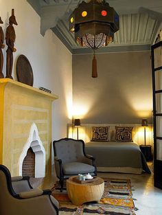 A Modern Moroccan space via Apartment Therapy moroccan theme, moroccan bedroom, fireplac, moroccan interiors, colors, romantic places, moroccan room, themed rooms, moroccan style