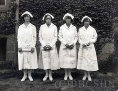 Mercy Hospital School of Nursing Class of 1924: Rita Miller, RN, Educational Director Mercy-Douglass Hospital; Ethel Davis (Dackett), RN; Inez Sasportas (Bosnett), RN Public Health Nurse; and Senora Robinson (Hosein), RN. Image courtesy of the Barbara Bates Center for the Study of the History of Nursing.