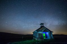 The Milky Way over an abandoned school house in Oregon
