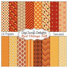 Red Orange Fall Digital Papers for Autumn by DigiScrapDelights
