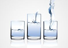 Free water glass vector illustration set. There are 3 slightly different glass clip art versions: usual half full glass, tall glass and one with water being poured. The water makes the glasses blue and creates bubbles.