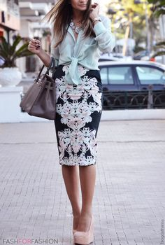 blouses, fashion, print skirt, mirror print, mint blous, spring colors, bold print, pencil skirts, office outfits