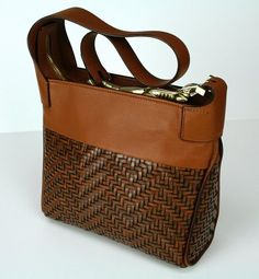 Beautiful Barry Kieselstein Cord Brown Cognac Woven Leather Bag Gold Gator Italy BKC | eBay