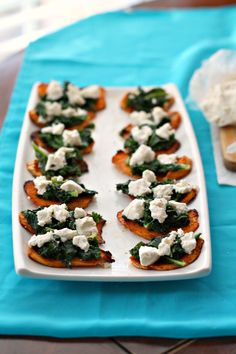 Spiced Sweet Potato Bites with Kale and Goat's Cheese for an easy, healthy appetizer! #sweetpotatoes #healthy #appetizer #kale